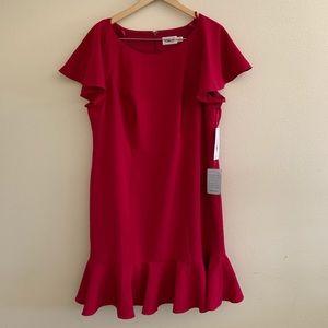 Eliza J Sheath Dress Pink Fuschia Ruffle Hem